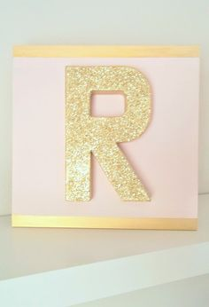 $28 - GOLD GLITTER Block Paper Mache Letter on 12 x 12 Composite Board in Any Paint Color by EllisonMade, Baby Nursery, Glam Nursery, Pink  Gold, Pink  Grey