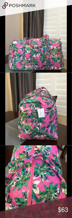 """NWT VERA BRADLEY LARGE DUFFEL Brand new with tags Vera Bradley large duffel  Tropical paradise pattern  15"""" strap drop Handy outside end pocket Folds flat for easy storing Dimensions 22"""" W x 11½"""" H x 11½"""" D - 15"""" strap drop Duffle Smoke/pet free home Vera Bradley Bags Travel Bags"""