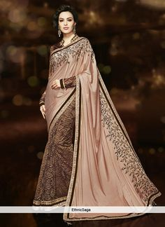 Gloat Brown And Peach Half And Half Saree