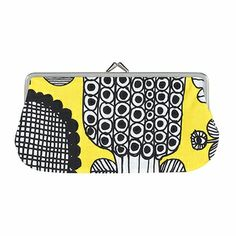 "Marimekko Puutarhurin Parhaat Yellow Eyeglass Case Meaning ""The Gardener's Best"" in Finnish, Puutarhurin Parhaat is a playful pattern by Maija Louekari which portrays just that. Marimekko Bag, Shabby Look, Painted Pots, Eyeglasses, Purses, Yellow, Miami, Pattern, Sunshine"