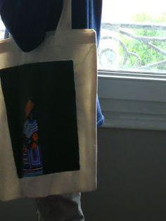 annaick caraes, acrylique sur sac en coton