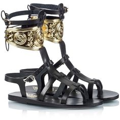 Ancient Greek Sandals - RHODES Ilias LALAoUNIS Gold-plated jewlery... ($435) ❤ liked on Polyvore featuring shoes, sandals, real leather shoes, leather gladiator shoes, leather shoes, wrap shoes and black leather sandals
