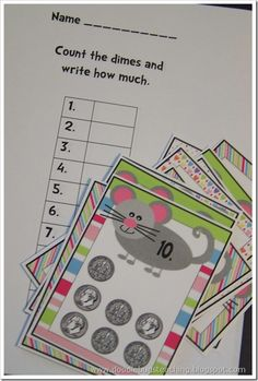 This is a great Money Math Tubs idea... must create something similar to this to match my weekly themes... click on the link to print the Money Mouse Dime Cards and the Recording Sheet