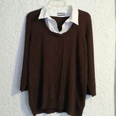 Brown sweater Croft and barrow brown sweater with built in collar, never worn, no tags Croft & Barrow Sweaters