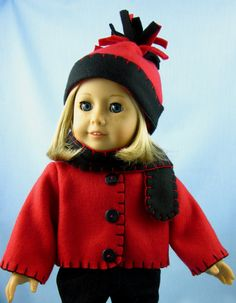 18 Inch Doll Clothes  - Fleece Jacket, Hat and Scarf in Red and Black - Fits American Girl