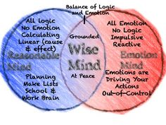 This is the foundation for all other DBT skills; recognizing the states of mind and knowing how to achieve wise mind!