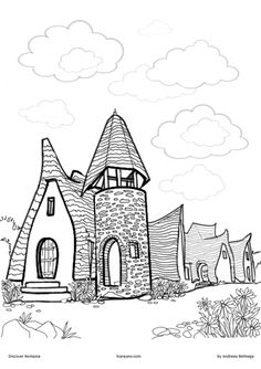 Clay Castle Coloring Page (Castelul de lut Valea Zanelor) is located in Transylvania Romania and it looks like a hobbit house, perfect for kids to draw! Castle Coloring Page, House Colouring Pages, Coloring For Kids, Coloring Pages For Kids, Transylvania Castle, Transylvania Romania, Castle Drawing, Drawing S, Castles To Visit