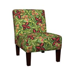 Maran Slipper Chair featuring Scattered Coleus Plants Green by wickedrefined, this fabric is available at Spoonflower.com