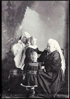 Queen Victoria and her 3 eldest York great-grandchildren, Princess Mary, Prince Edward, and Prince Albert (future King George VI). Little Albert was born on December 14, the date Victoria's husband, Prince Albert, and daughter, Princess Alice, died, making him extra special to the Queen. Circa 1898.