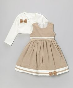 Take a look at this Tan Corduroy Dress & Ivory Jacket - Infant, Toddler & Girls by Sophia Young on #zulily today!