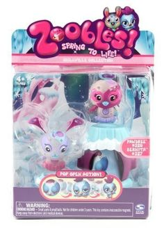 """Zoobles - Twobles - Bunny And Bird by Zoobles. $10.49. Twice the Zoobles!. Multiple Hot Spots make each Zooble """"Spring to Life!"""". Both Zoobles Share a Deluxe Happitat. Includes: 2 Zoobles, 1 Deluxe Happitat. From the Manufacturer                All the fun of Zoobles also comes in Twobles. With 2 new themes you can discover new Zoobles in their Cloud Cove or Coralloo Happitats. These collectible, colorful characters love each other's company and share their Deluxe Happitat...."""