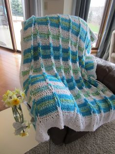 BLANKET/AFGHAN in Turquoise White and Green. by Bluetulipgifts, $125.00