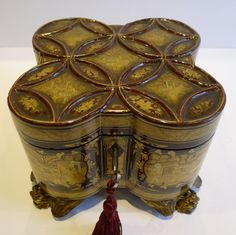 Rare Shaped Antique Chinese Lacquered Tea Caddy With Paktong Cannister c.1820