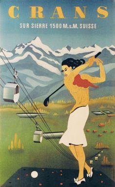 1952Crans Montana golf in the canton of Wallis in Switzerland,vintage travel sport poster