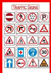 English worksheet: TRAFFIC SIGNS: Picture Dictionary. Match the signs with their meaning. With BLACK AND WHITE version and ANSWER KEY.