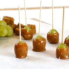 Reimagine the caramel apple with these salted-caramel dipped bite-sized grapes. Use Cotton Candy grapes when they're in season for an extra burst of sweetness.