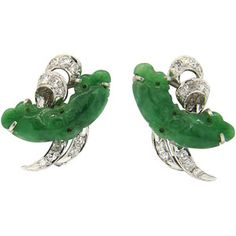 Pre-owned Fine Carved Jade Diamond Gold Earrings