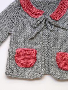 Suéter estilo bebé gris y rosa por evahandmade en Etsy