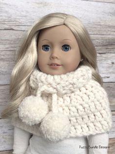 CROCHET PATTERN  18 inch Doll Chunky Pom Pom Cowl von FuzzyBundle