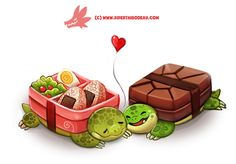Daily Paint 1300. Bento-Box Turtles by Cryptid-Creations.deviantart.com on @DeviantArt