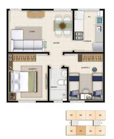 plantas de apartamentos pequenos 9