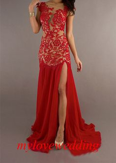 Dosnu dentelle Cap manches robe Briadl rouge par mylovewedding, $158.99