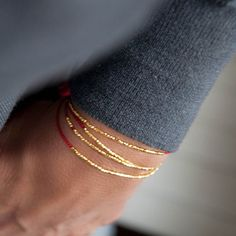 Delicate Gold on Red Silk friendship bracelet by Vivien Frank Designs