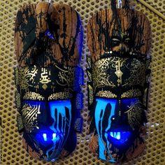 .@marko93darkvapor | Duo lacrymal #peinture et #light sur masques africains #marko93 #leerlanugueu... | Webstagram