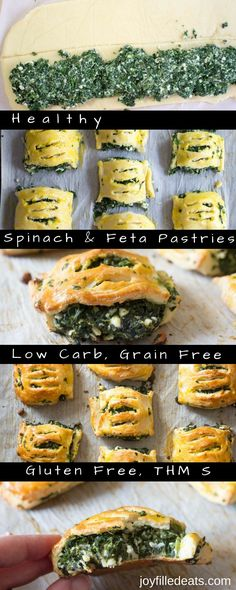 Spinach & Feta Pastries - Low Carb, Grain Free, THM S. These handheld savory Spinach & Feta Pastries are filling and delicious. They are jam-packed with spinach & feta cheese inside a golden pastry dough. via @joyfilledeats