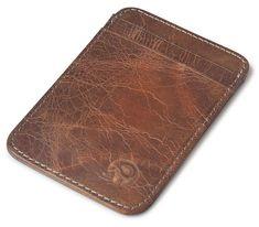 07fe09950 QIWANG Vintage Genuine Leather Wallet Slim Front Pocket Credit Card Holder  Sleeve Card Case