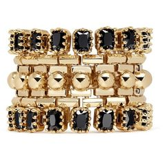 Eddie Borgo 'Dome Estate Cuff' crystal bracelet featuring polyvore women's fashion jewelry bracelets metallic studded jewelry hinged bangle crystal jewellery punk rock jewelry cuff bangle