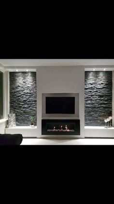 Living Room Renovation, House Design, Feature Wall Living Room, Home Fireplace, Living Room Decor Fireplace, Fireplace Design, Living Room Entertainment, Living Room Design Modern, Living Room Tv Wall