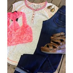 """#Mixedtrim #Henley #Top $32.99 (S-L) #FlyingMonkey #Skinnies $69.99 (24-29) #Bralette $24.99 (S-L) #BedStu #Juliana $139.99 (6-11) #PinkPanache #Earrings $30.99 We #ship! Call to order! 903.322.4316 #shopdcs #goshopdcs #shoplocal #love"" Photo taken by @daviscountrystore on Instagram, pinned via the InstaPin iOS App! http://www.instapinapp.com (02/05/2016)"