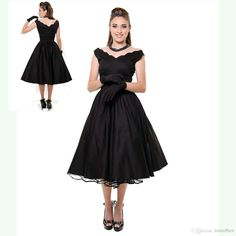 Vintage little black dresses with off the shoulder sleeves zipper back red satin tea length cheap/simple bridal/prom gowns 19471