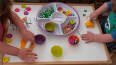 Play doh fun - buttons, coloured match sticks, glass nuggets and cupcake cases