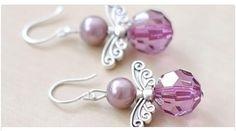 Angel Wings Earrings, Purple Pearl Jewelry, Wing Jewelry, Purple Earrings, Glass Earrings - New Ideas Angel Earrings, Glass Earrings, Beaded Earrings, Earrings Handmade, Beaded Jewelry, Glass Beads, Crystal Earrings, Prom Jewelry, Swarovski Crystal Beads