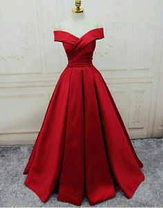 BEAUTIFUL red satin  off-the-shoulder evening gown!!