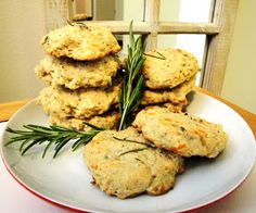 Recipe: Savory Parmesan + Rosemary Oatmeal Cookies - 1 cup quick cooking oats; 1/4 cup warm water; 1/4 cup olive oil; 1/4 cup brown sugar; 1 egg; 1/2 cup cream cheese (or 1/2 cup sour cream, whatever you have left over); 1 cup flour; 1/2 cup shredded parmesan cheese; 1/2 tsp sea salt; 1/4 tsp baking soda; 3 teaspoon rosemary (fresh); 1/4 teaspoon freshly cracked black pepper.
