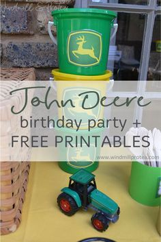 John Deere themed tractor birthday party for toddlers. Inspiration for decorations, cake, healthy food and innovative party packs & free printables. Birthday Party Games For Kids, 2nd Birthday Parties, Birthday Ideas, Birthday Banners, 1st Birthdays, Birthday Invitations, Tractor Birthday, Farm Birthday, Tractors For Kids
