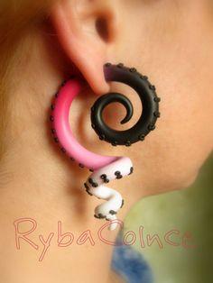 Fake Ear Gauge | Fake ear tentacle gauge - Faux gauge/Gauge earrings/Tentacle plug ...