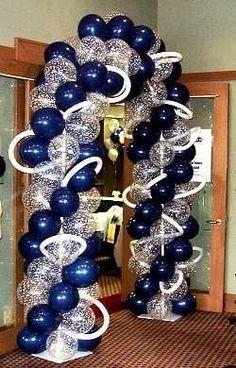 Wedding Reception Decorations Balloons Entrance 48 Super Ideas - How To Make Crazy PARTY Balloon Decorations, Birthday Decorations, Balloon Ideas, Balloon Arch Diy, Blue Party Decorations, Balloon Backdrop, Deco Ballon, Denim Party, Diamond Party