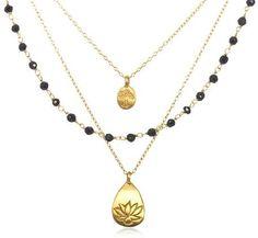"Satya Jewelry ""Classics"" Onyx Lotus Tree of Life Triple Chain Necklace, 18"" on shopstyle.com"
