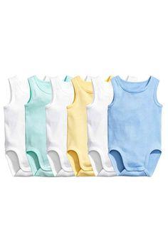 6-pack sleeveless bodysuits - Mint - | H&M 1