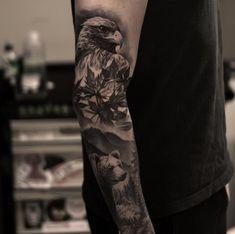 nature sleeve tattoo by oscarakermo