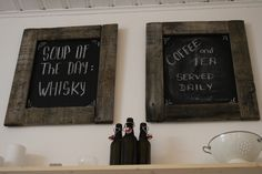 Chalkboard, reclamed wood, cable drum, wall decor