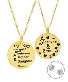 This Gold 'Forever & Ever' Pendant Necklace Set is perfect! #zulilyfinds