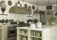 Suzie: Jackie Lanham - Lovely kitchen with silver trays, stainless steel hood, ivory kitchen ...