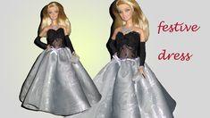 BARBIE DOLL -HOW TO MAKE- FESTIVE DRESS, (DIY) Barbie Dolls Diy, Diy Barbie Clothes, Fairy Clothes, Doll Clothes, Barbie Barbie, Barbie Stuff, Diy Doll, Barbie Wedding Dress, Diy Wedding Dress