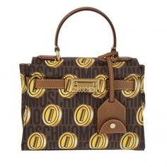 Moschino Super Mario Satchel Bag Brown  in brown, Handle Bags (€495) ❤ liked on Polyvore featuring bags, handbags, brown, satchel purses, leather satchel purse, brown handbags, leather handbags and brown satchel purse