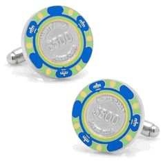 500 Dollar Blue Poker Chip Cufflinks